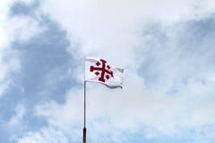 Jerusalem-Kreuz-Markierungsfahne Stockfotografie