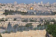 Jerusalem kupol av vagga från Mount of Olives Royaltyfri Bild