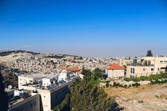 Jerusalem landscape. View on arabic neighborhood near old city in Jerusalem Royalty Free Stock Photos
