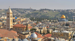 The Jerusalem landscape view on the mount of olives, the dome Royalty Free Stock Images