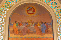 Jerusalem - Last supper. Mosaic in Church of St. Peter in Gallicantu. Jerusalem - The last supper. Mosaic in Church of St. Peter in Gallicantu Royalty Free Stock Photos