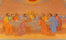 Jerusalem - The last supper. Mosaic in Church of St. Peter in Gallicantu. JERUSALEM, ISRAEL - MARCH 3, 2015: The last supper. Mosaic in Church of St. Peter in Stock Image