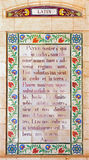Jerusalem - The Latin Lord's prayer in atrium of Church of the Pater Noster on Mount of Olives. Royalty Free Stock Photos