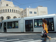 Jerusalem Light Rail. JERUSALEM - SEP 02:Jerusalem Light Rail tram train on Jaffa road on September 02 2011 in Jerusalem, Israel.It opened in 19 Aug 2011 and up Stock Photos