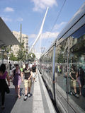 Jerusalem Light Rail. JERUSALEM - SEP 02:Jerusalem Light Rail tram train on Jaffa road on September 02 2011 in Jerusalem, Israel.It opened in 19 Aug 2011 and up Royalty Free Stock Images