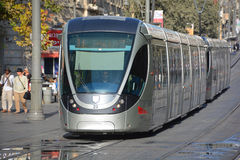 The Jerusalem Light Rail. JERUSALEM ISRAEL 24 10 16 :The Jerusalem Light Rail is a light rail system in Jerusalem. Currently the Red Line is the only one in Stock Image