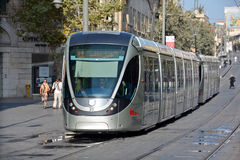 The Jerusalem Light Rail. JERUSALEM ISRAEL 24 10 16 :The Jerusalem Light Rail is a light rail system in Jerusalem. Currently the Red Line is the only one in Stock Photo