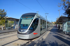 The Jerusalem Light Rail. JERUSALEM ISRAEL 24 10 16 :The Jerusalem Light Rail is a light rail system in Jerusalem. Currently the Red Line is the only one in Stock Photos