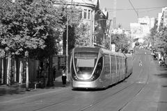 The Jerusalem Light Rail. JERUSALEM ISRAEL 24 10 16 :The Jerusalem Light Rail is a light rail system in Jerusalem. Currently the Red Line is the only one in Royalty Free Stock Images
