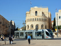 The Jerusalem Light Rail. JERUSALEM ISRAEL 24 10 16 :The Jerusalem Light Rail is a light rail system in Jerusalem. Currently the Red Line is the only one in Royalty Free Stock Image