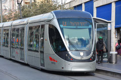 The Jerusalem Light Rail. JERUSALEM ISRAEL 24 10 16 :The Jerusalem Light Rail is a light rail system in Jerusalem. Currently the Red Line is the only one in Stock Images