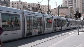 Jerusalem Light Rail tram in Jerusalem, Israel. JERUSALEM, ISR - MAR 26 2015:Jerusalem Light Rail tram in Jerusalem, Israel.It opened in 19 Aug 2011 and up to stock video