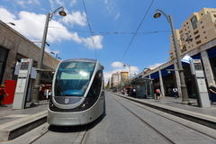 Jerusalem Light Rail tram (train) stop and Central bus station on Jaffa street, Jerusalem, Israel Stock Photography