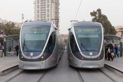 Jerusalem - Light tram on city railroad Stock Photo