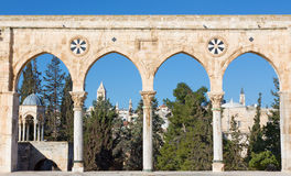 Jerusalem - The look cross the west gate from the Temple Mount to in morning light with the towers of Redeemer church Royalty Free Stock Photography