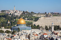 Jerusalem - Look over the old town to Dom of Rock and Mount of Olives. Stock Photos