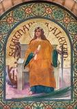 Jerusalem - målarfärg av helgonet Catharine av Alexandria den tidiga kristna martyren i kyrka för st Stephens från året 1900 av J Royaltyfria Bilder