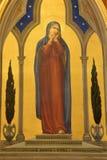 Jerusalem - målarfärg av jungfruliga Mary i kyrka av flagellation via Dolorosa från börjar på av 20 cent vid konstnären Barberis arkivfoto