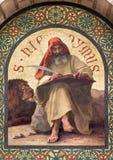 Jerusalem - målarfärgen av St Jerome den stora doktorn av den västra katolska kyrkan i kyrka för st Stephens arkivfoto