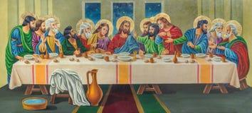 Jerusalem - målningen den sista kvällsmålet av konstnären Andranik (2001) på trät i gravvalv för ortodox kyrka av den jungfruliga Arkivbilder
