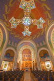 Jerusalem - main nave and modern cupola with the cross and mosaic in Church of St. Peter in Gallicantu. Stock Images