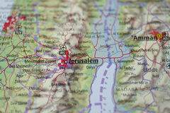 Jerusalem Map. Closeup map detail of Jerusalem, capital city of Israel, and the surrounding area, including Palestine, Dead Sea, Jericho and the borderline with Stock Photos