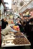 Jerusalem market. Mahane Jehuhda market in Jerusalem full of people and stands Stock Images