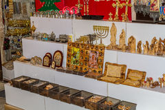 Jerusalem market in Old City, souvenirs and religious icons Royalty Free Stock Image