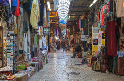 Jerusalem - market street in old town at full activity. Stock Photos