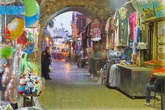 Jerusalem - The market street in old town at full activity. Stock Photos