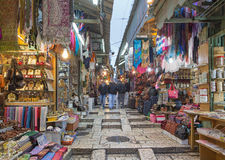 Jerusalem - The market street in old town at full activity. Royalty Free Stock Photography