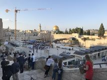 Pilgrims amass at the Western Wall entrance. JERUSALEM - MAY 11, 2018: Pilgrims amass at the Western Wall entrance. The Western Wall is considered holy due to stock image
