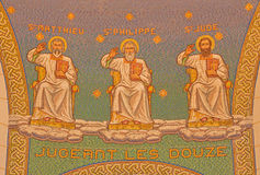 Jerusalem - The mosaic of apostles in Church of St. Peter in Gallicantu. Royalty Free Stock Photo