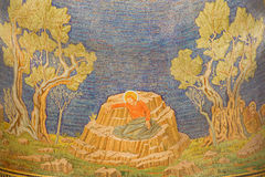 Jerusalem - mosaic of Jesus in Gethsemane garden in The Church of All Nations (Basilica of the Agony) Royalty Free Stock Photography