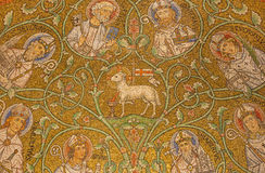 Jerusalem - The mosaic of The Lamb of God among the saints in side apse of Dormition abbey Stock Images