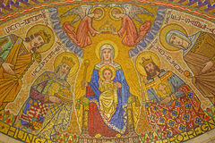 Jerusalem - The mosaic of Madonna in Hungarian chapel (lower church) in Dormition abbey Royalty Free Stock Photo