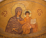 Jerusalem - The mosaic of Madonna in main apse of Dormition abbey Stock Photo