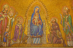 Jerusalem -  The mosaic of Madonna among the saints in Dormition abbey Royalty Free Stock Photo