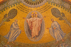 Jerusalem - mosaic of resurrected Christ. JERUSALEM, ISRAEL - MARCH 3, 2015: The mosaic of resurrected Christ on ceiling of Evangelical Lutheran Church of Stock Photo