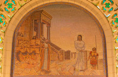 Jerusalem - The mosaic of scene Christ Before Caiaphas in Church of St. Peter in Gallicantu by unknown artist of 20. cent. Stock Photography