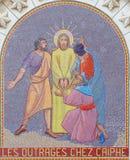 Jerusalem - mosaik av platsen Jesus för av Sanhedrin i kyrka av St Peter i Gallicantu Fotografering för Bildbyråer