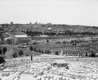 Jerusalem from Mount of Olives. A view of the old city of Jerusalem as seen over the graveyards on the Mount of Olives. The Dome Of the Rock is in the center Royalty Free Stock Photo