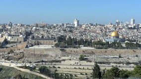 Jerusalem from Mount of Olives stock video footage