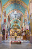Jerusalem - The nave of Russian orthodox cathedral of Holy Trinity Stock Photos