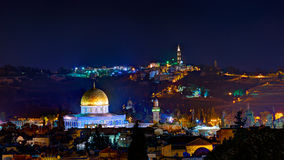 Jerusalem at night. With the Al-Aqsa Mosque and the Mount of Olives Royalty Free Stock Photos