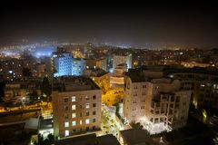 Jerusalem at night, Israel. Cityscape view from above stock photo