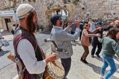 Jerusalem - 15 November, 2016: Celebration of Bar Mitzva cerem. Ony at the old city of Jerusalem stock photography
