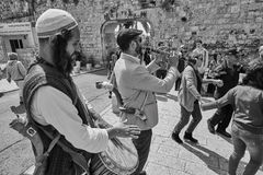 Jerusalem - 15 November, 2016: Celebration of Bar Mitzva cerem. Ony at the old city of Jerusalem royalty free stock images