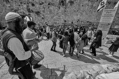 Jerusalem - 15 November, 2016: Celebration of Bar Mitzva cerem. Ony at the old city of Jerusalem royalty free stock photography