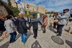 Jerusalem - 15 November, 2016: Celebration of Bar Mitzva cerem. Ony at the old city of Jerusalem royalty free stock image
